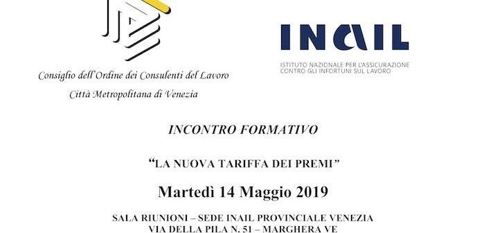 LOCANDINA INCONTRO FORMATIVO INAIL PROV LE VENEZIA 14 MAGGIO 2019