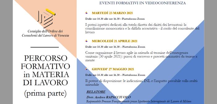 PERCORSO FORMATIVO IN MATERIA DI LAVORO (prima parte)