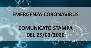 Emergenza Coronavirus – comunicato stampa del 25/03/2020